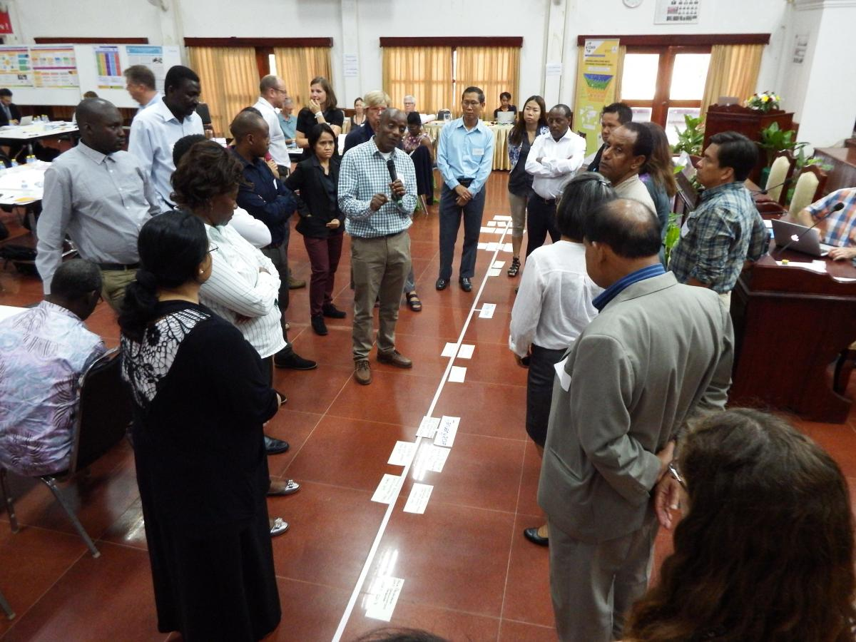A CDAIS facilitator from Ethiopia, explains the progress of the project using the 'timeline' tool.